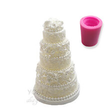 Wedding Cake Candle Molds Soap Book Fondant 3D DIY Moulds Silicone Rose Party