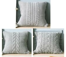Knitted Twisted Cables Pattern Cushion Cover Home Decor Sofa Lounge Pillow Case