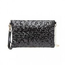 Ladies Sequin Evening Clutch Bag Black Pocket Small Party Party