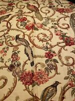 """Greef Fabric Birds and Floral Large Scale Print Vintage Remnant 55"""" x 44"""""""