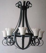 Lampadario in ferro battuto e coppette in terracotta numero luci 8