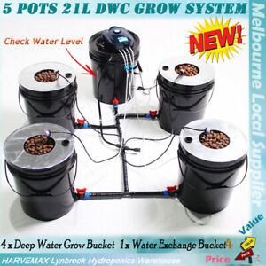 HYDROPONICS 5 POTS 21L DWC COMPLETED SYSTEM DEEP WATER CULTURE ROOTS GROW BUCKET