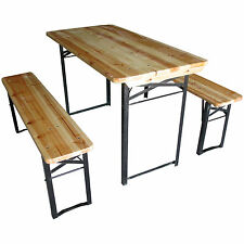 LARGE OUTDOOR FOLDING BEER TABLE BENCH SET TRESTLE GARDEN PUB FURNITURE PARTY