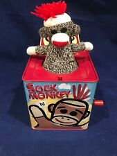 SOCK MONKEY JACK IN THE BOX SCHYLLING TIN TOY Hi Socky Monkey and You EUC