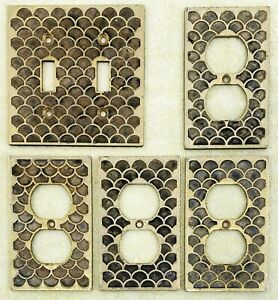 5 Vintage Dual Light Switch Wall Plate Cover Outlet Brass Pearl Seashell Scallop