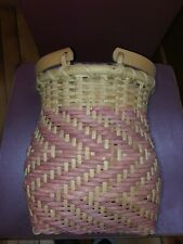 New ListingWicker Basket With Handles Pale Pink Cute Shape