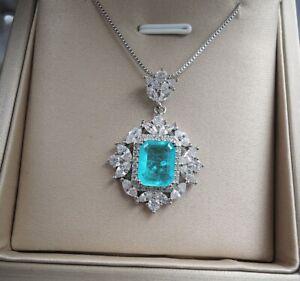 925 Sterling Silver Moissanite Paraiba Tourmaline Gemstone Pendant Necklace