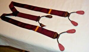 Trafalgar Suspenders / Braces Cranberry Maroon Woven Silk