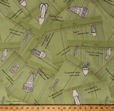 Succulents Plants Cactus Botany Field Study Cotton Fabric Print BTY D370.18