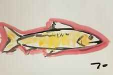 JOSE TRUJILLO NEW Acrylic Painting Primitive Expressionism FISH ABSTRACT 13X19