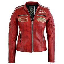 f5705b5c76d9 Moderne Damen Lederjacke Bikerjacke Jacke in Rot aus Echtleder 36-46 Neu