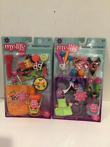 MY LIFE AS DOLL HALLOWEEN PLAY SETS PARTY AND TRICK OR TREAT LOT OF 2 NEW