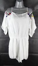 White Multi Coloured Pom Pom Trim Playsuit Size 14, Cold Shoulder Shorts Holiday