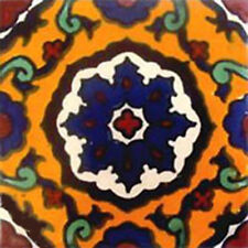 #C085) Mexican Tile sample Ceramic Handmade 4x4 inch, GET MANY AS YOU NEED !!