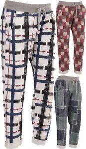 New Italian Ladies Women Elastic Waist Cotton Trousers Joggers Pants Size M L XL