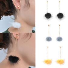 Damen Lang Kette Ohrhänger mit Feder Kugel Ohrringe Ohrschmucken Ohrstecker Mode