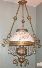 Vtg Victorian Style John Scott Hanging Library Oil Lamp w/ Rose Shade, Prisms