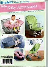 Baby Accessories - Seat Covr, Boppy Cover, Bag, Bib - Simplicity 4636 - New
