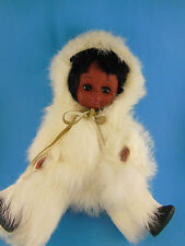 Alaska Eskimo Doll with Baby Papoose Dressed in White Rabbit Fur