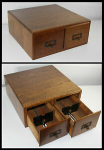 Old Antique Solid Oak 2Drawer Card Catalog Index File Box Cabinet Library Bureau