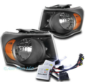 For 07-09 Chrysler Aspen Factory Style Headlights Headlamp Black w/10K Xenon HID