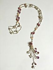 NEW EVITA PERONI SILVER CHAIN NECKLACE PEARLS CRYSTALS BEADS BUTTERFLIES FLOWER