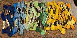 Bundle of over 30 part used Anchor Embroidery threads. Blues/greens/yellows.