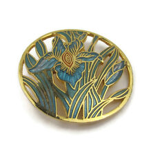 Vtg Round Enamel Iris Brooch Pin Gold Tone Blue Openwork Finely Detailed Signed