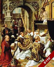 MASS OF SAINT GREGORY CATHOLIC CHURCH PAINTING CHRISTIAN ART REAL CANVAS PRINT