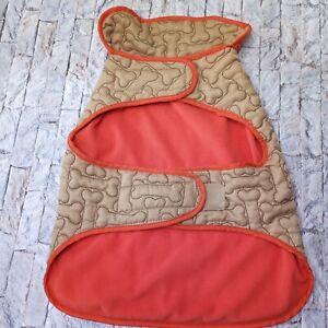 Martha Stewart Dog Clothes Tan/Orange Sz Large Barn Coat Fleece Apparel Pet