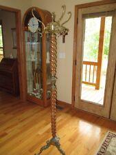 Ornate  Brass  Lion Head Claw Foot Coat Hat Rack Hall Tree Floor Stand Vintage