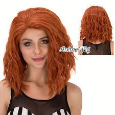 "14"" Short Orange Curly Women Girls Anime Cosplay Hair Full Wig For Black Widow"