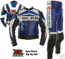 GSXR SUZUKI MOTORCYCLE COWHIDE LEATHER SUIT MOTORBIKE JACKET TROUSER 2-PIECE