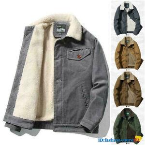 Men's Corduroy Sherpa Trrucker Jacket Fur Fleece Lined Classic Winter Warm Coat