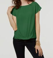 $160 I.n.c. Women's Green Draped Boat-Neck Short-Sleeve Casual Blouse Top Size S
