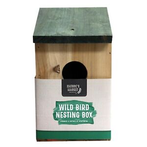 Natures Market Wild Bird NEST BOX - Opening roof - Fixing point - wooden