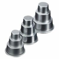3x Mini 3-Tier Wedding Cake Tins Pudding Pan Baking Muffin Bakeware Mold, 3 K9B2