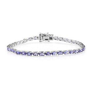 "Platinum Over 925 Sterling Silver Blue Tanzanite Tennis Bracelet Size 8"" Ct 8.8"
