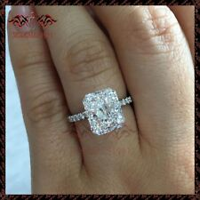3CT Radiant-Cut Brilliant Diamond Solitaire Engagement Ring 10K White Gold Over
