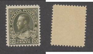 MNH Canada 20c Dark Olive Green KGV Admiral - Wet Printing #119c (Lot #20131)