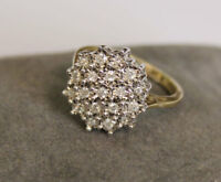 0.48Ct Brilliant Cut Diamond 18k Yellow Gold OverCluster Engagement Wedding Ring