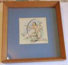 1950 Earl Poole Watercolor,Indian Brave Hunting with Bow and Arrow,framed,glass