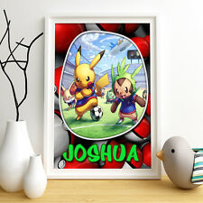 POKEMON Pikachu Personalised Poster A4 Print Wall Art Fast Delivery ✔