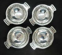 Set 4 Solid SILVER Twin Handle PIERCED Bon Bon Dishes Synyer & Beddoes Birm 1924