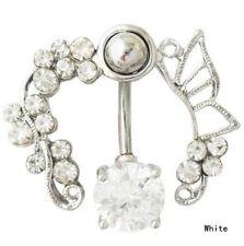 Piercing couronne fleur cristal papillon bijoux de corps percing nombril ref:11
