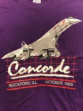 True Vintage 80s Concorde Airplane British Airways T Shirt 1985 Size XL 50/50