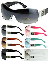 New Womens Shield Designer Wrap Around Sunglasses Shades Retro Fashion One Lens
