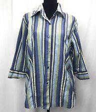 Ninety Women's button down shirt size 1X multicolored w/ strippes