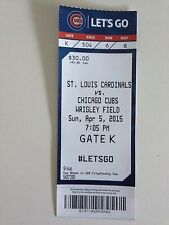 Chicago Cubs Unused Opening Day Ticket Stub 2015