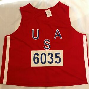 USA Track and Field #6035 U.S.A. National Team Race Tank Top Jersey Men's Sz XL